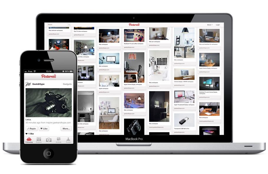 Pinterest on desktop and on smartphone