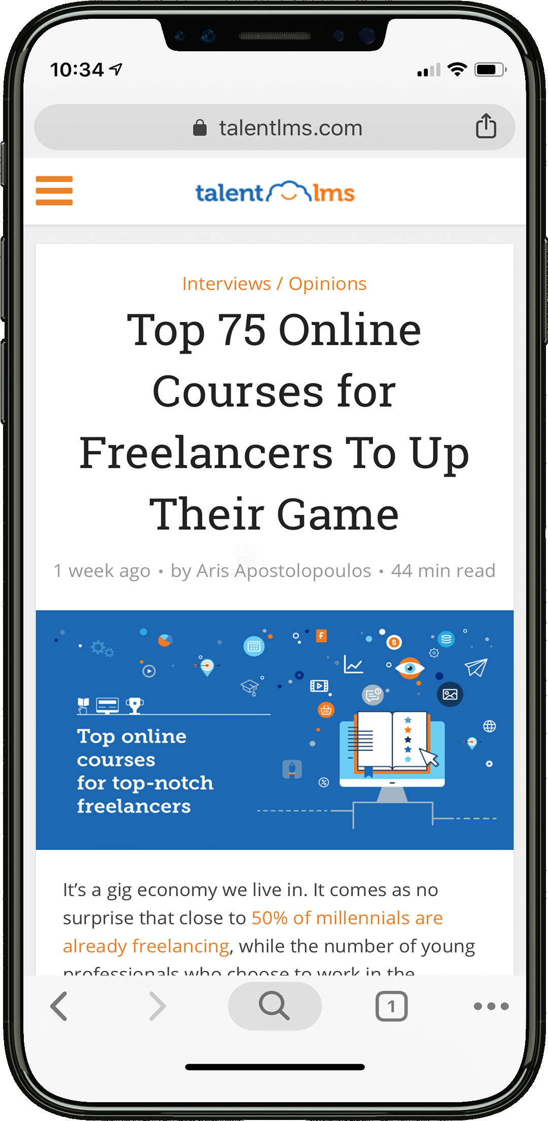 iPhone mockup online courses