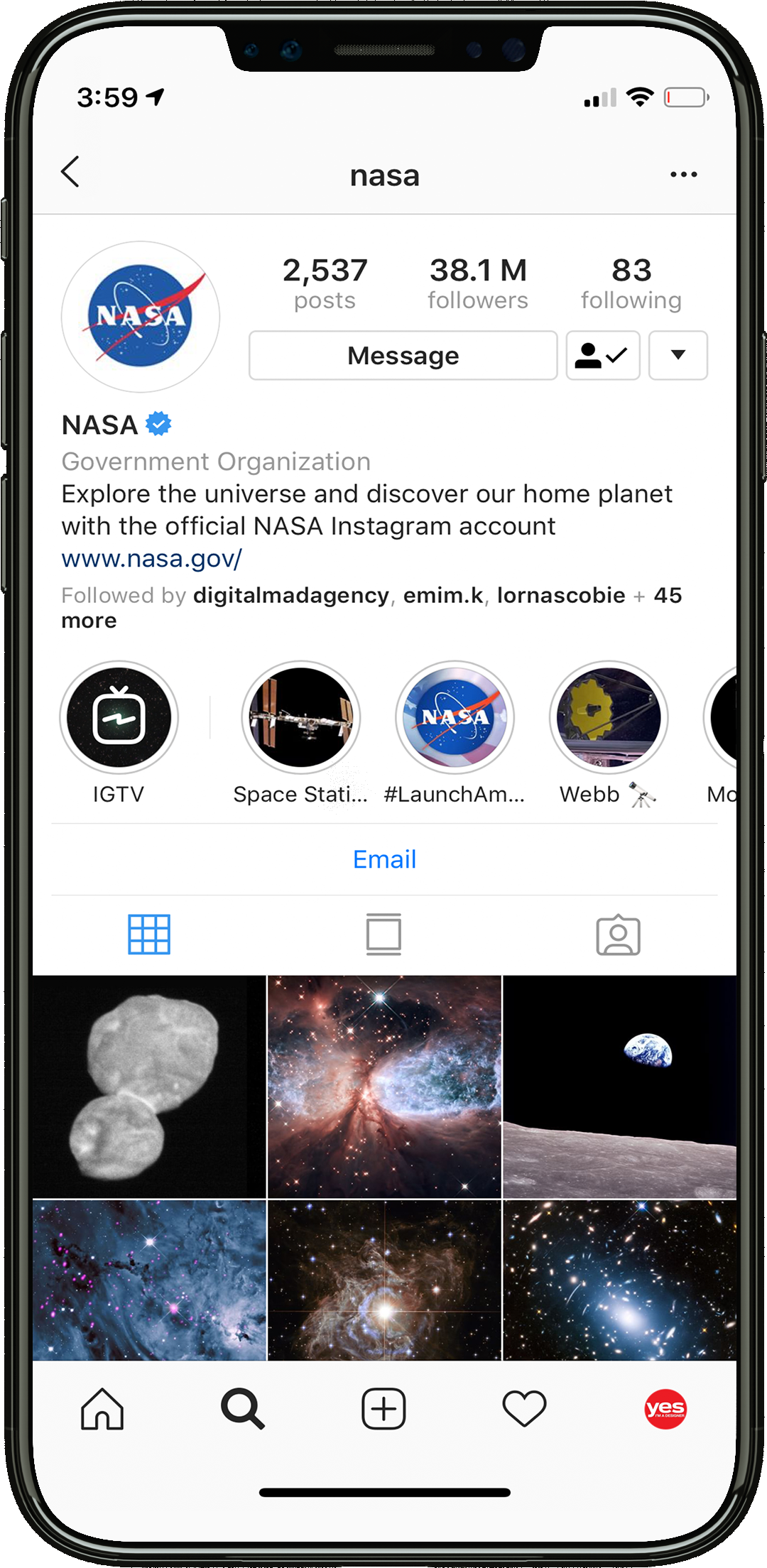 instagram account NASA inspiration