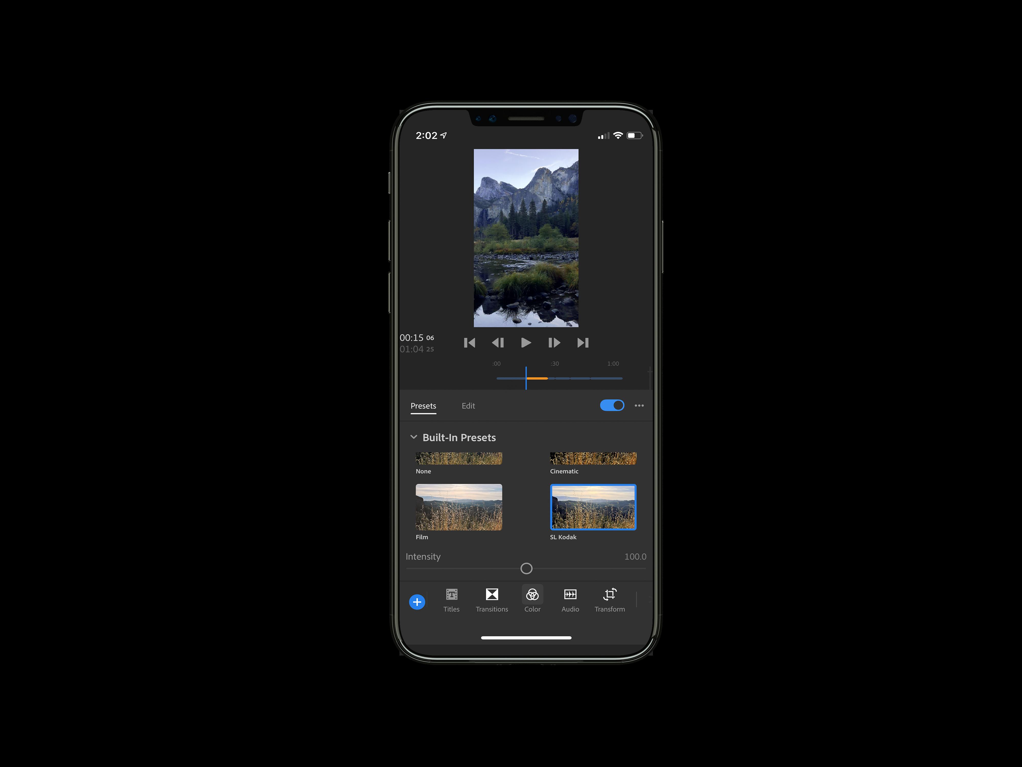 Adobe Premiere Rush CC presets