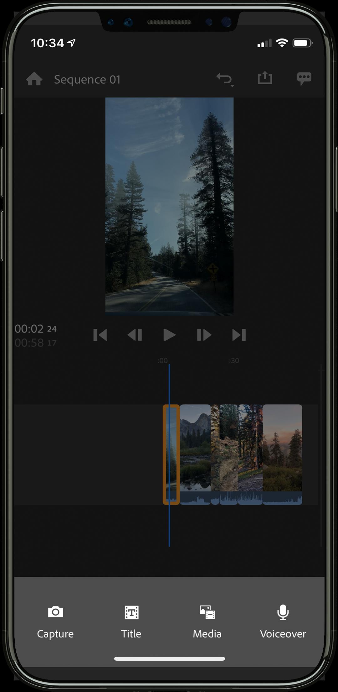 capture or import Adobe Premiere Rush CC