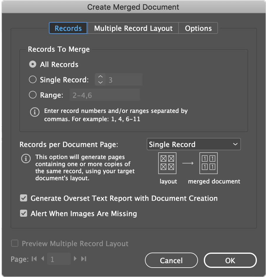 indesign merged document options