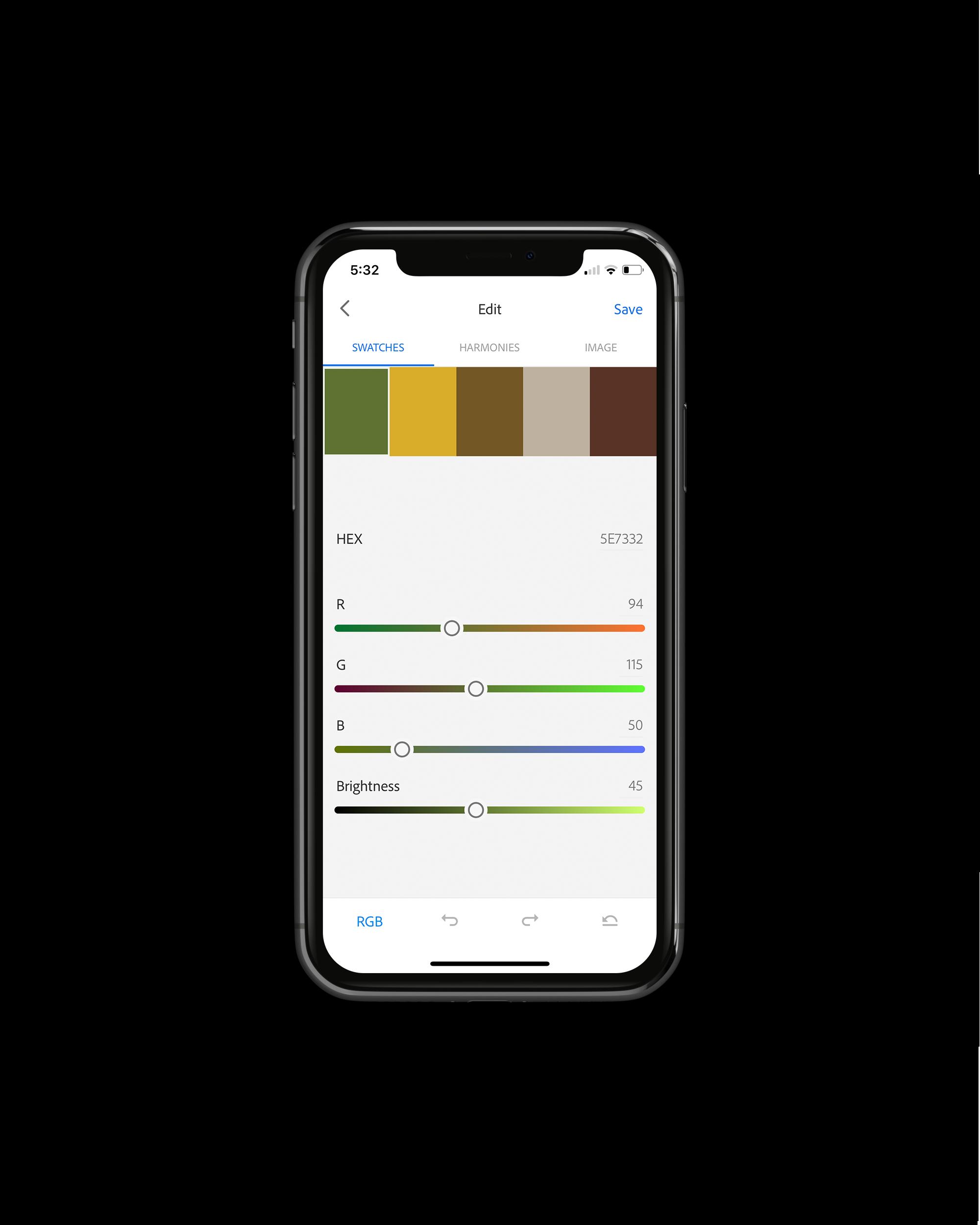 Adobe Color example Adobe Cature app