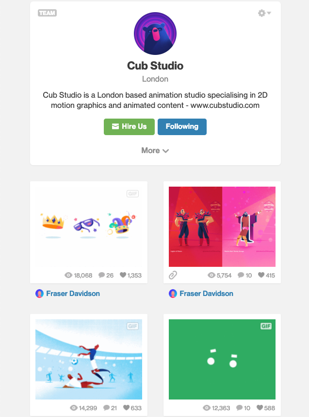 cub studio dribbble example