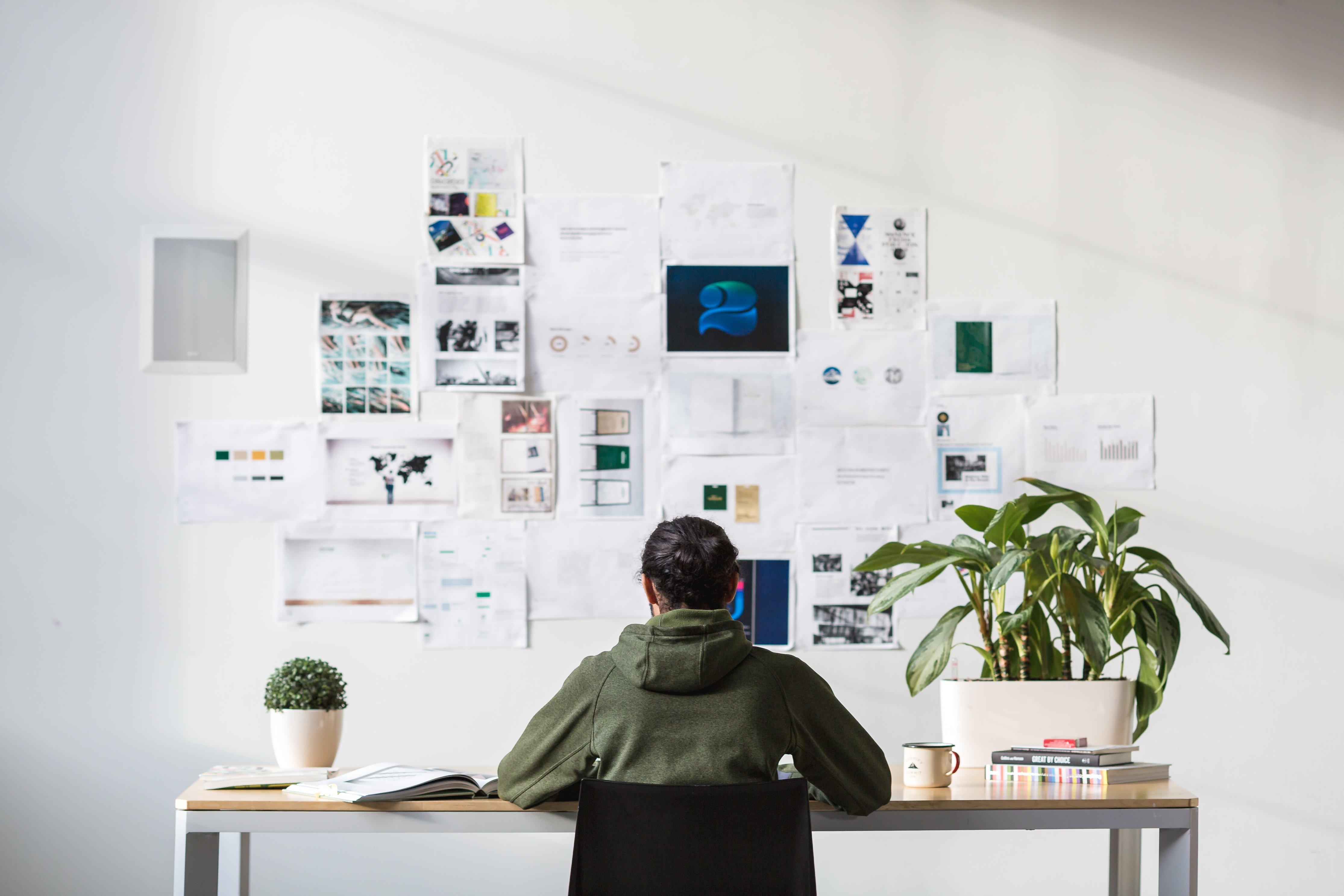 designer working on portfolio